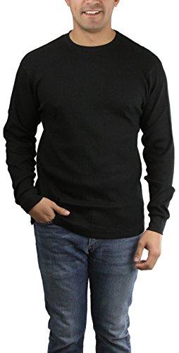 Black L/s Thermal - ToBeInStyle Men's L.S. Crew Neck Heavy Thermal Sweatshirt - Black - 2X