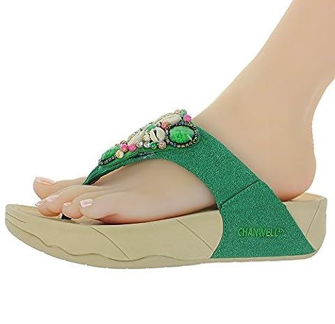 INFMETRY Women's Fashion Sea Shell Jewelry Wedge Flip-Flop (EU 41, Green) (Green Flip Flops)