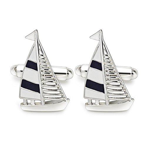 (Mr.Van Navy Blue Sail Boat CufflinksClassic Fashion Modern Stripe Cufflinks Blue and Silver)