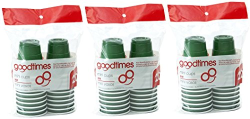 Goodtimes 2oz Mini Disposable Plastic Shot Glass Cups (3 packs of 20 cups) Perfect size for liquor shots, Jello shots, St. Patricks Day, serving condiments and kids love them too! (Green)
