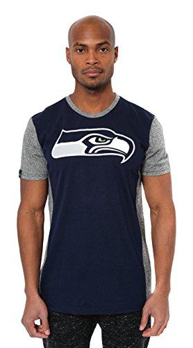 ICER Brands NFL Seattle Seahawks Men's T-Shirt Raglan Block Short Sleeve Tee Shirt, Small, Navy