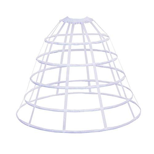 HappyStory Crinoline Hoop Skirt Pannier 5 Rows Underskirt for Prom Dress (White 5 Hoops) Victorian Crinoline