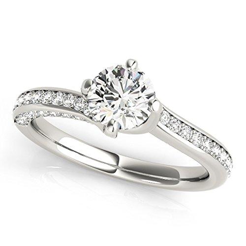 090 Ct Ttw Classic Diamond Engagement Wedding Ring 10K White Gold