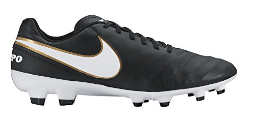 Nike Tiempo Genio II Leather FG Soccer Cleat (6.5) Black/White
