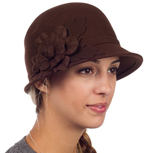 Sakkas 22CY Clara Vintage Style Wool Cloche Bucket Bell Hat - Brown - One Size