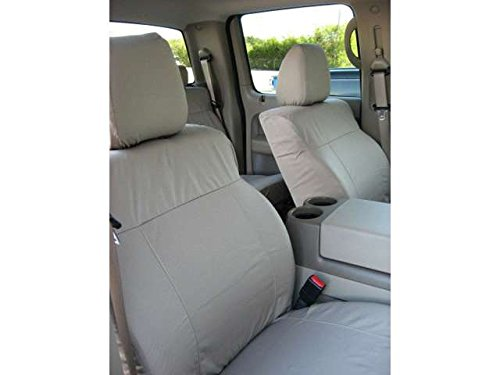 Durafit Seat Covers Made to fit Ford F150 Crew Cab and Lincoln Mark LT Front Buckets Seats with Adjustable Headrests. Seat Belts are Not Integrated in Brown Leatherette