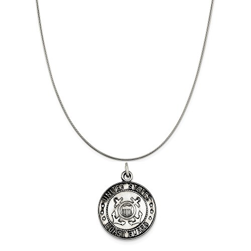 (Sterling Silver Us Coast Guard Medal on a Sterling Silver Snake Chain Necklace, 18