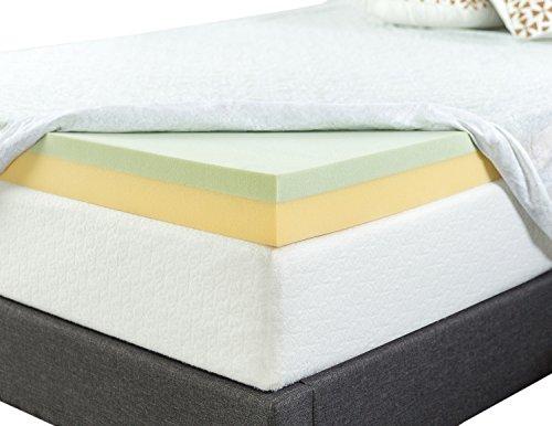 Zinus 4 Inch Green Tea Memory Foam Mattress Topper, Twin
