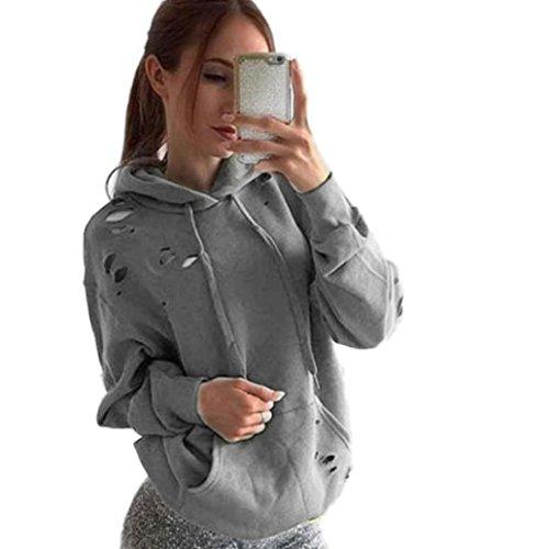 Top BEST Women's Loose Hole Hoodie Sweatshirt Fashion Long Sleeve Jumper Pullover Tops Coat for sale