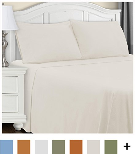 Superior Bedding Sheet Set - COTTON FLANNEL COMFORT: Made of 100% brushed cotton, these flannel sheets are soft, comfortable and wrinkle-resistant COMPLETE SET: Our brushed cotton sheet set includes everything needed for your bed: a flat sheet, fitted sheet and two pillow cases RANGE OF COLOR OPTIONS: Our cotton flannel bed sheet set comes in a choice of rich, beautiful colors so you can find the perfect one - sheet-sets, bedroom-sheets-comforters, bedroom - 41vEmg9lrcL -
