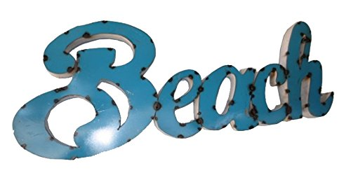 Rustic Arrow Small Beach Sign for Decor, 2 by 35 by 12.5-Inch, Blue