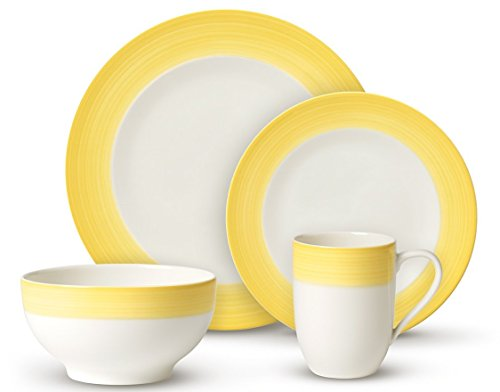 Colorful Life Lemon Pie Dinner Set by Villeroy & Boch - Premium Porcelain - Made in Germany - Dishwasher and Microwave Safe - Serves 2