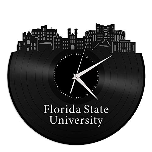 VinylShopUS - Florida State University Vinyl Wall Clock City Skyline Unique Gift for Home and Office | Bedroom Decoration