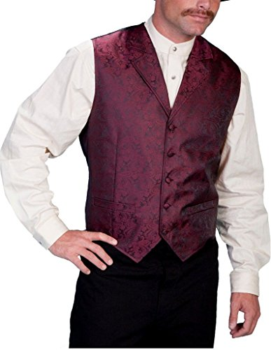 - Scully Rangewear Men's Rangewear Paisley Button Vest Burgundy Medium