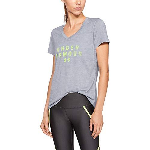 (Under Armour Women's Tech V-Neck Graphic - Twist Short Sleeve T-Shirt, Mod Gray (011)/High-Vis Yellow, Medium)