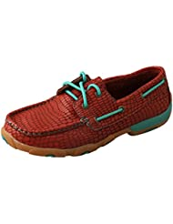 Twisted X Womens Leather Lace Up Slip Resistant Rubber Sole Red/Turquoise Driving Moccasin