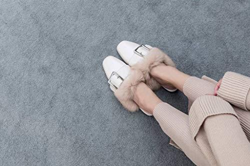 Blanc Enfiler Mules ConfortableAutomne Femmes Chaussures Plat Boucles SimpleC a Hiver Ywgz0Twxq