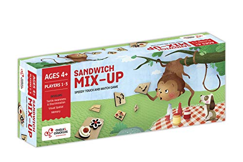Chalk and Chuckles Sandwich Mix Up - High Speed Sensory Game for The Whole Family (Ages 3 & Up) Includes Quirky Wooden Sandwiches for Tactile Shape Recognition