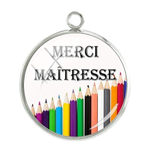 Pendants - 1Pc French Merci Teacher Mother Pendants Charms 20Mm Glass Cabochon Dome Handmade Thanksgiving'S Day Gift Jewelry-Ct294