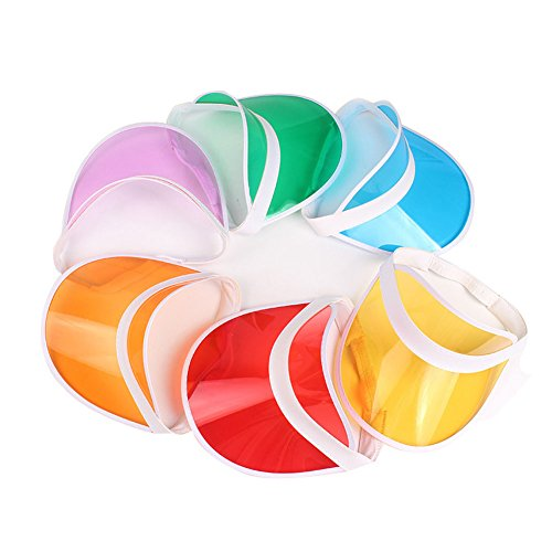 HUPLUE 6Pcs Tennis Beach Colored Plastic Clear Sun Bingo Vegas Dealer Golf Casino Visor Hat -
