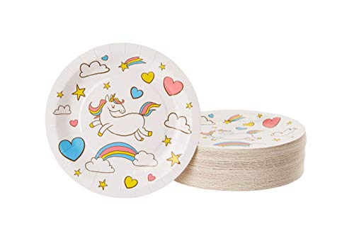 Disposable Plates - 80-Count Paper Plates, Unicorn Themed Birthday, Baby Shower Party Supplies for Appetizer, Lunch, Dinner, Dessert, Rainbow Unicorn Design, 9 Inches ()