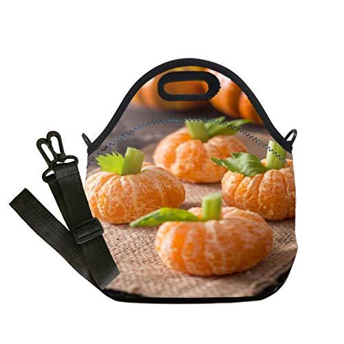 3D Print Neoprene Reusable Cooler Fashion Lunch Bag Healthy Halloween Treats Tangerine Pumpkin Kids Fun Multicolor,for Adults and children waterproof Lunch ()