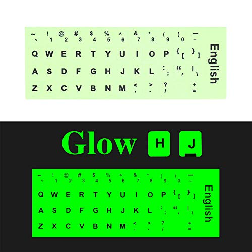 [2 Pack] English Keyboard Stickers, FORITO Glowing Keyboard Letter Stickers for PC Computer Keyboard/Laptop Keyboard/Desktop Keyboard -Glowing Edition