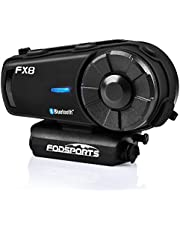 FODSPORTS FX8 Motorcycle Bluetooth Intercom with Noise Cancellation, Louder Volume Motorcycle Bluetooth Headset with Great Sound Quality, Up to 8 Riders Group Intercom Communication System(1pcs)