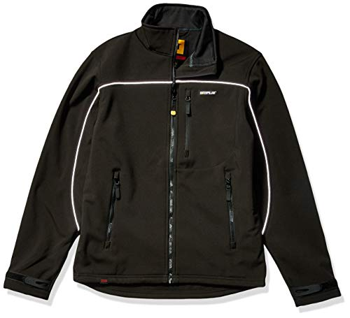 Caterpillar Men's Big and Tall Soft Shell Jacket (Regular and Big & Tall Sizes), Deep Black, 2X Large from Caterpillar