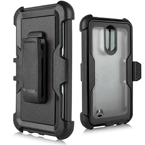 LG Aristo Case, LG Fortune Case,LG Phoenix 3/LG K8 2017/LG Rebel 2 Case, [Built in Screen Protector] Heavy Duty Protection Belt Swivel Clip Holster with Kickstand [Clear Back] (Black) ()