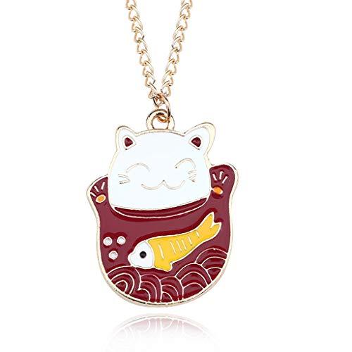 (Choker Cat Fish Cartoon Dragon Bird Fox Rabbit Pendant Necklace for Women Kawaii Animal Family Choker Jewelry Collares SLZT)
