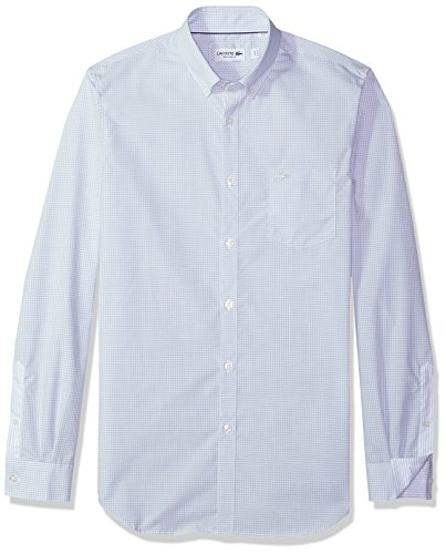 Lacoste Mens Long Sleeve with Pocket Poplin Mini Check Regular Fit Woven Shirt, CH9620