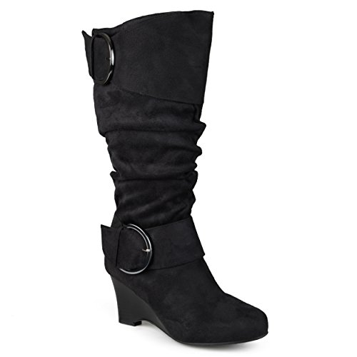 Journee Collection Womens Regular Sized and Wide-Calf Buckle Slouch Wedge Knee-High Boots Black, 8.5 Wide US