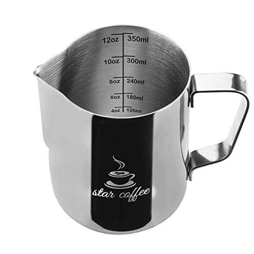 Star Coffee 12, 20 or 30oz Stainless Steel Milk Frothing Pitcher - Measurements on Both Sides Inside Plus eBook & Microfiber Cloth - Perfect for Espresso Machines, Milk Frothers, Latte Art ()