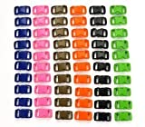 "Bluecell 60 PCS of 3/8"" (10mm) 6 Color (10 Each) Contoured Side Release Plastic Buckles"