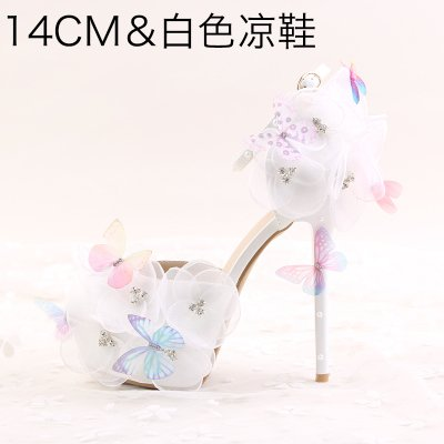 Female VIVIOO Rhinestone Butterfly Heeled 5 Pointed 7 White Heels Higher Wristband Bride Flower 14Cm Wedding Evening High Shoes Waterproof A Sandals Prom 8Frwq8a
