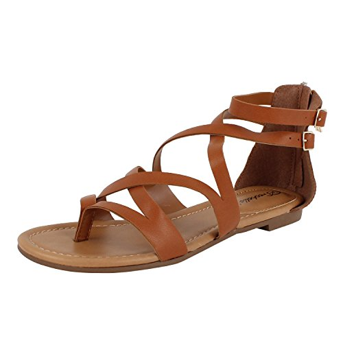 Womens Open Toe Ankle Strap Cage Cutout Flat Strappy Flats-Sandals (7.5 M, Tan Pu)