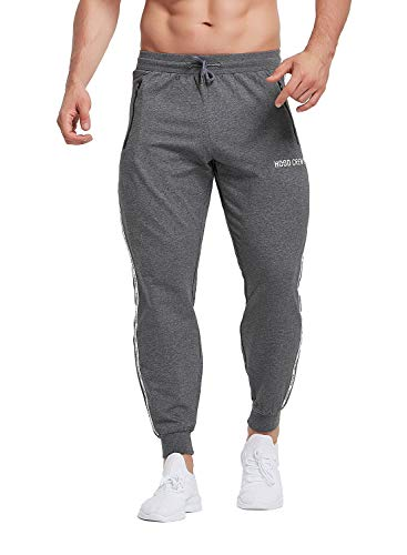 HOOD CREW Men's Striped Slim Jogger Sweatpants with Zipper Pockets for Training, Running and Workout