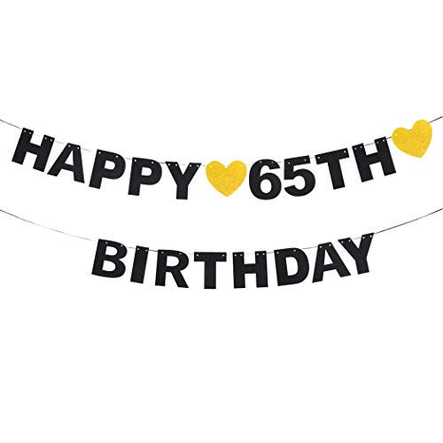 (Happy 65th Birthday Black Glitter Paper Letter Banner Pennant Sweet Gold Glitter Heart Cheers to Sixty-five Years Old Bday Fabulous Anniversary Party Event Funny Hanging Ornament Decoration Gift.)