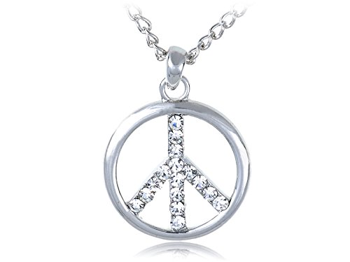 Alilang Fashionable Peace Sign Clear Crystal Rhinestone Retro Costume Necklace (Peace Costumes)