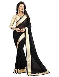 Shonaya Women`S Black Colour Chiffon Lace Border Saree with Unstitched Blouse Piece