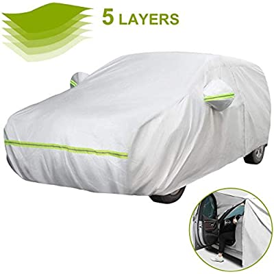 Favoto Hatchback Car Cover 5 Layers Universal Fit 157 to 171 inch Driver Side Door Zipper Design Protection from Sun Rain Windproof Dustproof Snow Leaves Scratch Resistant Full Exterior Cover: Automotive
