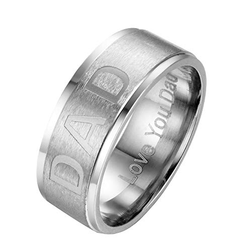 SINLEO Men's Stainless Steel Handsome DAD Ring Engraved for sale  Delivered anywhere in Canada