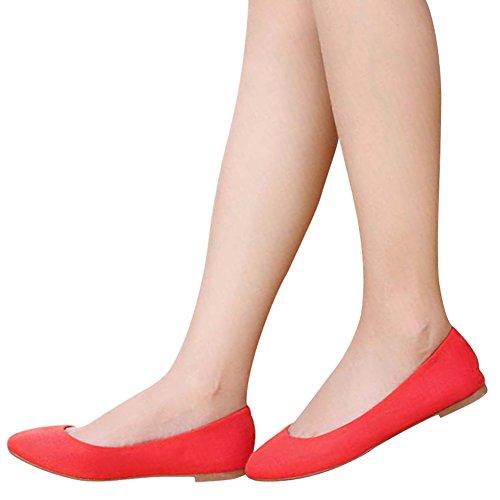 OCHENTA Damen Ballerinas Balett Flach Einfach Rund aus Wildleder Rot