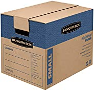 Bankers Box SmoothMove Prime Moving Boxes, Tape-Free and Fast-Fold Assembly, Small, 16 x 12 x 12 Inches, 15 Pa
