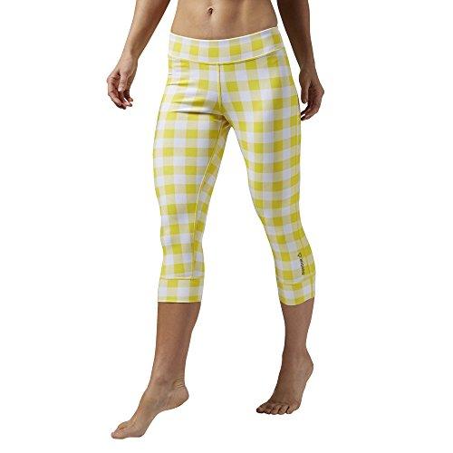 Reebok pantalones de deporte para yoga Gingham Capri Amarillo - Yellow Spark