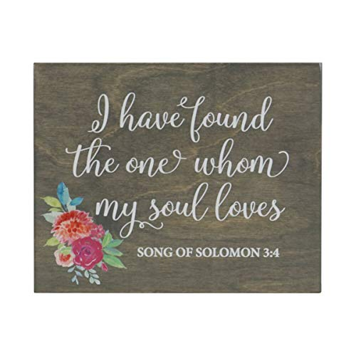 LifeSong Milestones I Have Found The One Whom My Soul Loves Flowers Decorative Wedding Party Signs Ceremony Reception Bride Groom (8x10) (Classic Grey) ()