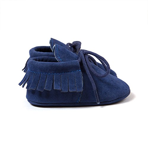 Top-Sell Niños Infantes Borlas Decoración Zapatos De Bebé Anti Slip Soft Sole Prewalker Azul oscuro