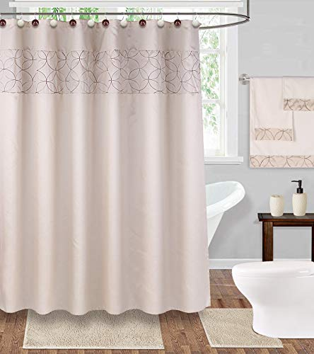 20 Pieces Shower Curtain with Matching Resien Hook, Chenille Bath Mat,Contour Rug,Towel Set, Ceramic Tooth Brush Holder, and Lotion/Soap Dispenser (Cream) (Matching Rugs Curtains And)