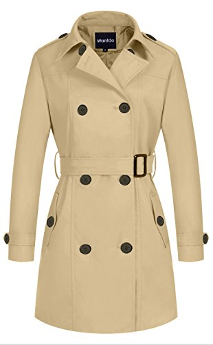 Double Breasted Belt - Wantdo Women's Double-Breasted Long Trench Coat with Belt(Khaki,Medium)